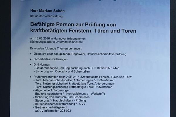 Teilnahme TÜV Nord Akademie