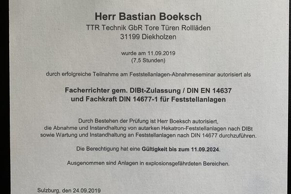 Erfolgreiches Hekatron Seminar für Bastian Boeksch