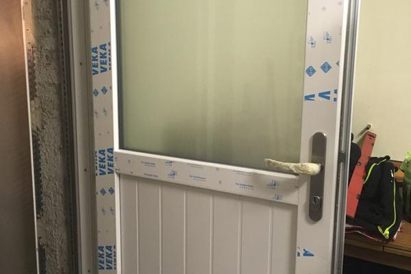 Kellertür Softline AD-Kunststoff weiß/ weiß 1000 x 2000 mm, 3-fach Verriegelung und Glasausschnitt P4 A Glas